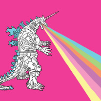 Mechagodzilla unicorn breathing rainbow, 5x7 print