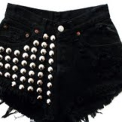 Jane's black denim studded shorts