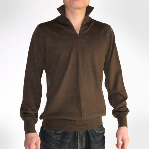 Men's Quarter Zip Wool Blend Sweater