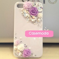 New Bling Crystal Sparkle Purple White Pink Roses Rhinestones iPhone 4/4S Case