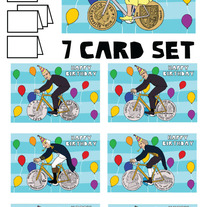 Coin wheeled bike Happy Birthday 7 card set
