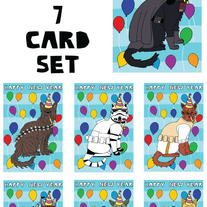 Cat dressed as Star Wars New Year 7 card set
