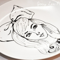 Hand Painted Vintage Plate, Fashion Illustration, Alice is Waiting