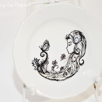 Hand Painted Vintage White Porcelain Small Plate, Butterfly Friend Whimsical Illustration