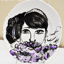 Hand Painted Vintage Plate, Fashion Illustration, The Girl Behind the Purple Roses