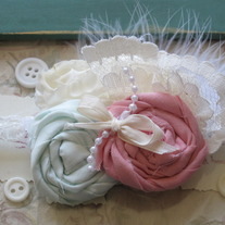Vintage Mint And Pink Feather headband