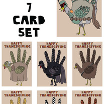 Hand turkey Star Wars Thanksgiving 7 card set
