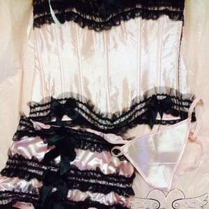 Pink and Black Bustier Set