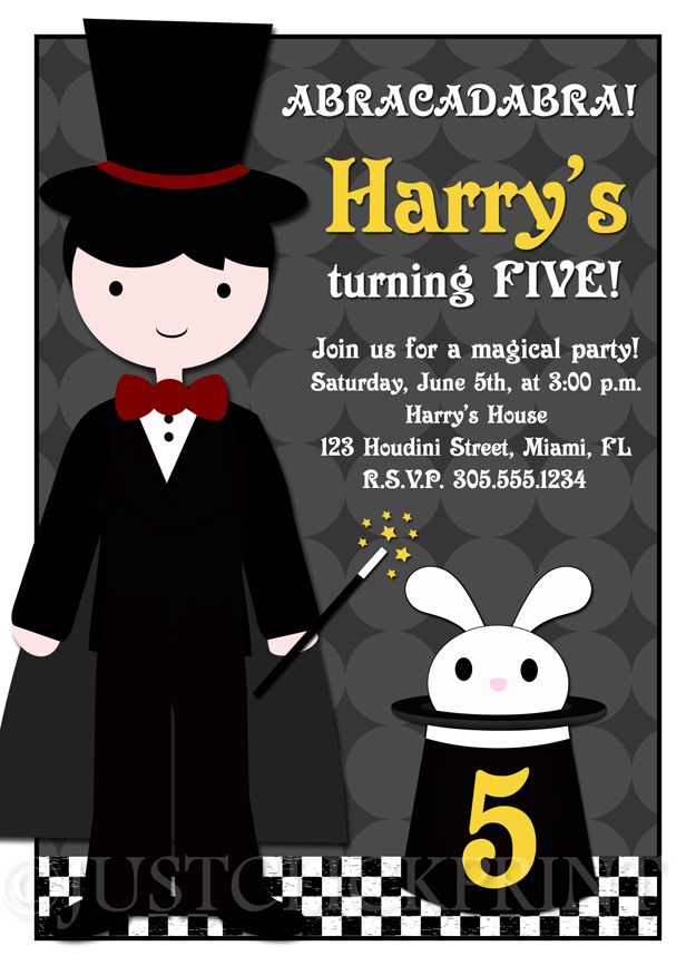 Abracadabra Magic Show Birthday Party Invitation Any Color ...