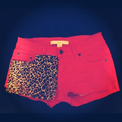 Jane's red denim cheetah shorts