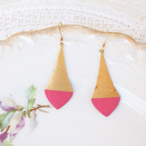 Pointed Hot Pink Color Dipped Brass Dangle Earrings