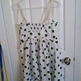 Mina White Dress with Green Polka Dots L - Thumbnail 1