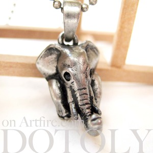 SALE - Baby Elephant Realistic Animal Charm Necklace in Silver
