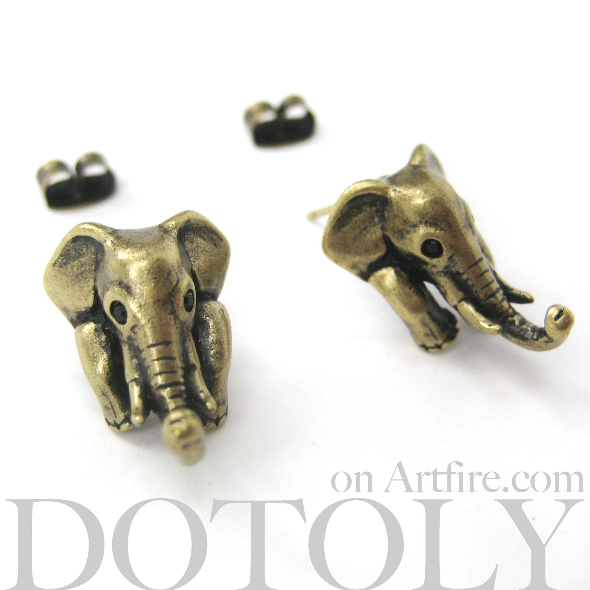 miniature elephant realistic animal stud earrings in