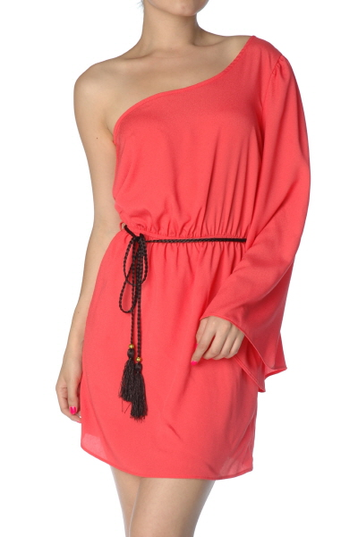 One Shoulder Dress Coral 183 Sophisticates Closet 183 Online