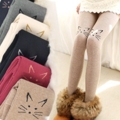 Knee cat leggings spring tights