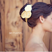Mustard and Cream Satin Flower Tie Headband or Halo