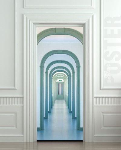 Wall door sticker entry interior corridor passage city for Door wall mural