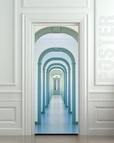 Wall door sticker entry interior corridor passage city for Door wall mural