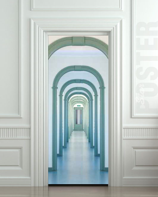 Wall door sticker entry interior corridor passage city for Door mural stickers