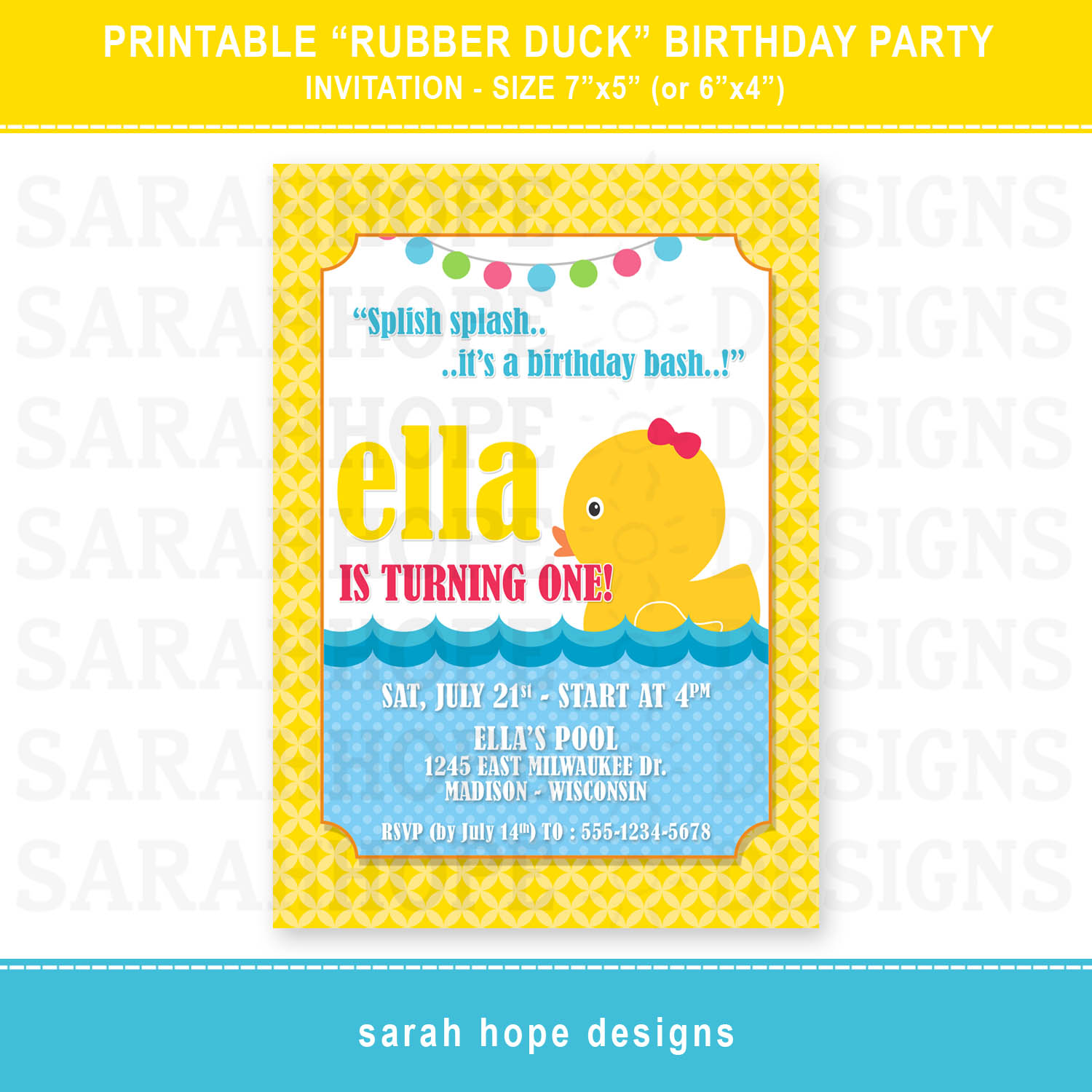 Sarah Hope Designs – Rubber Duck Birthday Invitations