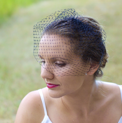Black Birdcage Veil with Smoke Swarovski Crystals