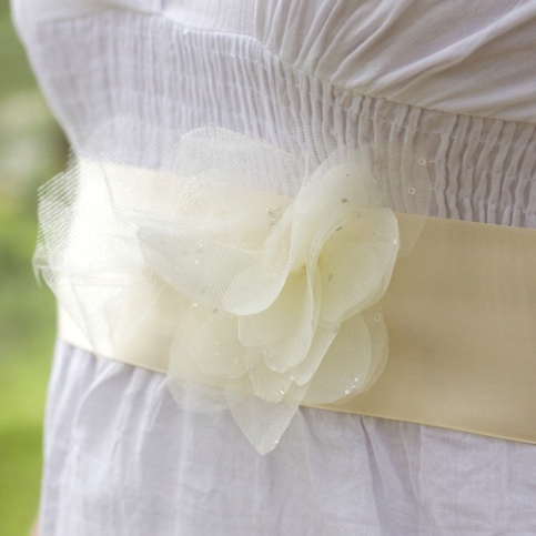 Bridal Sash with Organza and Tulle Flowers