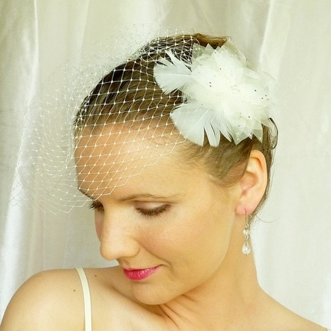 Ivory Flower Bridal Veil Fascinator with Swarovski Crystals and Marabou Feathers