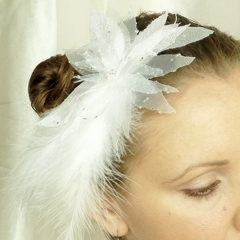 Snow White Bridal Veil Fascinator