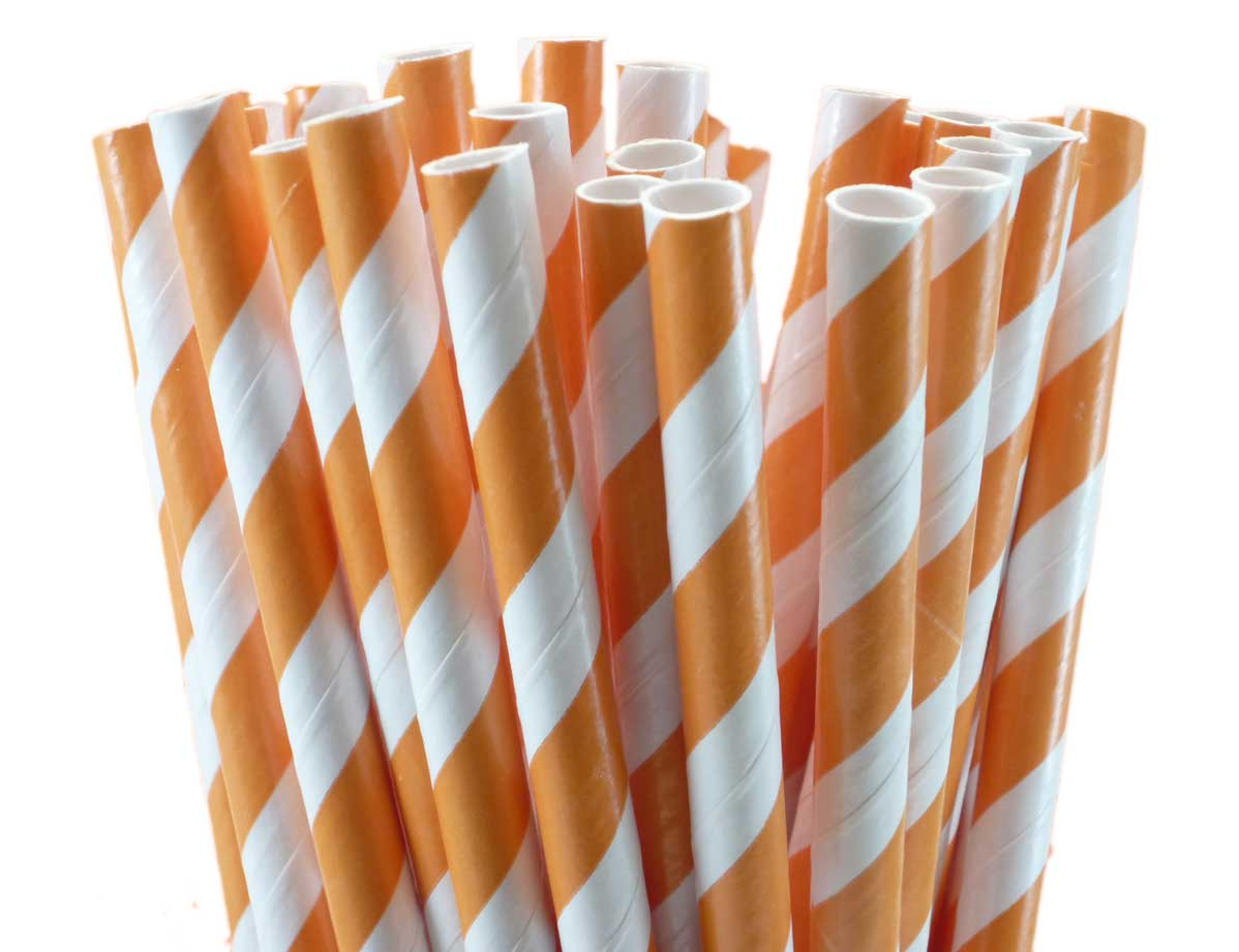 Orange Striped Paper Straws Stripes Paper Straws