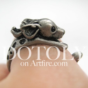 Miniature Reindeer Deer Animal Wrap Around Ring in Silver - Sizes 4 to 9 Available