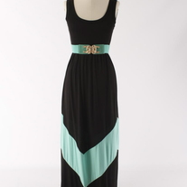 Colorblock Black & Mint Aqua Long Tank Chevron Stripe Maxi Dress