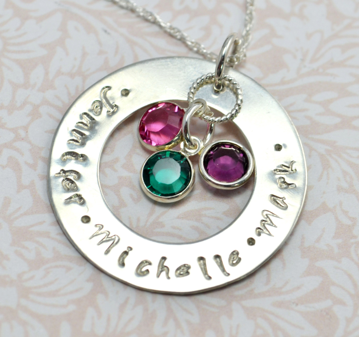 Personalized mommy necklace family necklace extra large for Engravable gifts for her