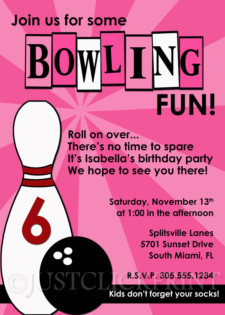 Girls Bowling Fun Birthday Photo Invitation Printable Just Click