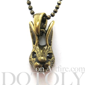 ONE DOLLAR SALE - Baby Bunny Rabbit Bunny Charm Necklace in Bronze