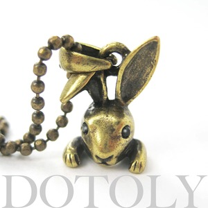 ONE DOLLAR SALE - Baby Bunny Rabbit Animal Charm Necklace in Bronze