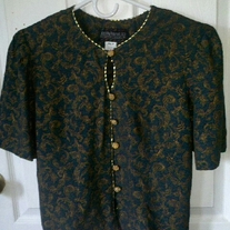 Just in Thyme Green and Gold Blouse Sz 10