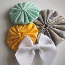 Mint, yellow and grey cluster
