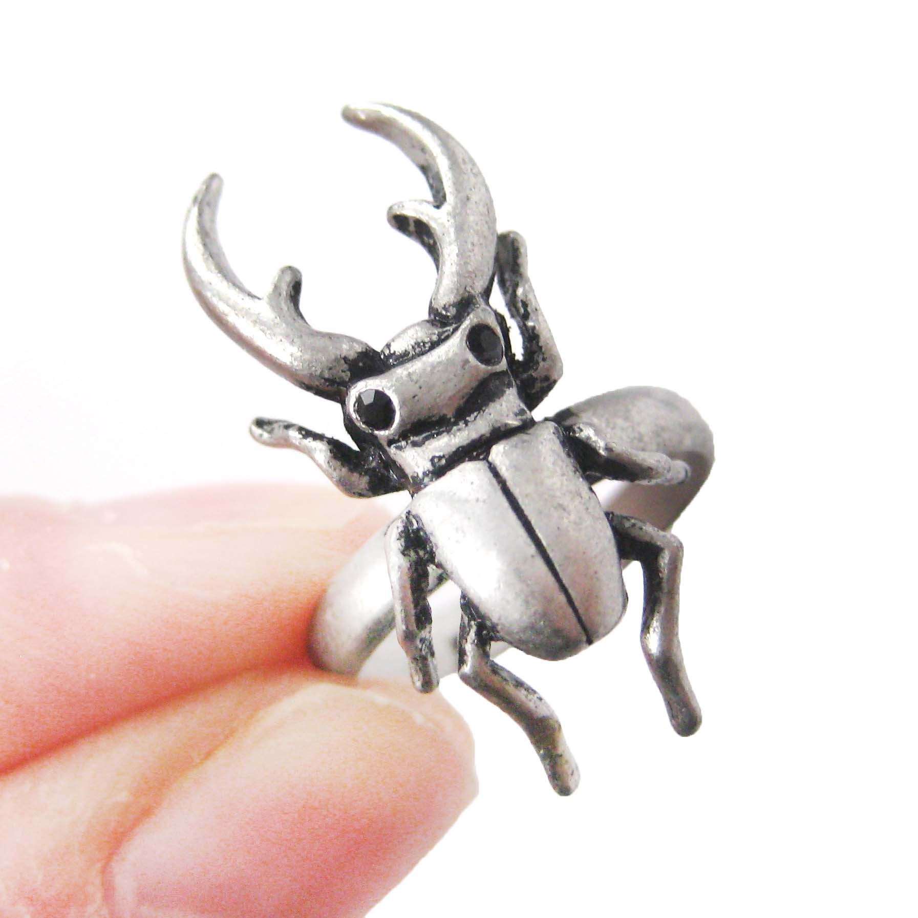 stag beetle insect bug adjustable detailed animal ring in