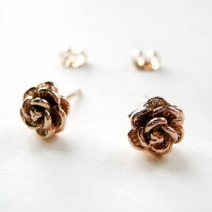Small Textured Light Gold Floral Stud Earrings