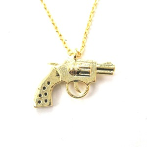 Revolver Gun Pistol Shaped Small Charm Necklace in Gold