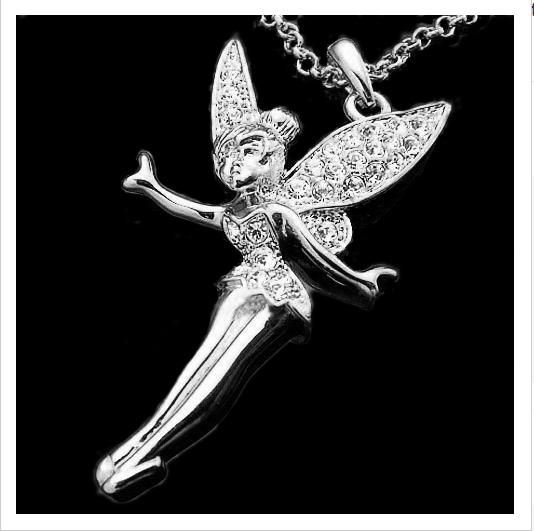 18k white gold austrian crystal tinkerbell fairy pendant necklace 18k white gold austrian crystal tinkerbell fairy pendant necklace aloadofball Gallery