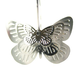 Unique Butterfly Shaped Hoop Dangle Earrings in Silver