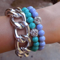 Turquoise//Pale Purple Crystal Bracelet