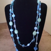 Long Various Shades of Blue Necklace