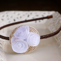White Fabric Flowers and Abaca Twine Rustic Headband
