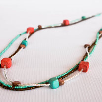 Teal, Mint, Coral and Brown Multi-Strand Wood Beads Necklace/Bracelet
