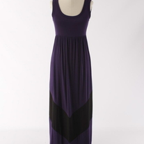 Colorblock Purple & Black Long Tank Chevron Stripe Maxi Dress