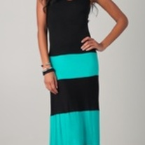 Colorblock Black & Aqua Biscot Jersey Long Tank Maxi Dress Striped SML
