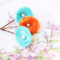 Aqua and Tangerine - Set of 3 Flower Bobby Pins